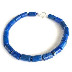 Lapis Lazuli Tube Bead Bracelet Hand Knotted Silk